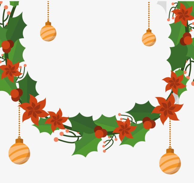 卡通手绘圣诞节花环素材图片免费下载 高清psd 千库网 图片编号9475410