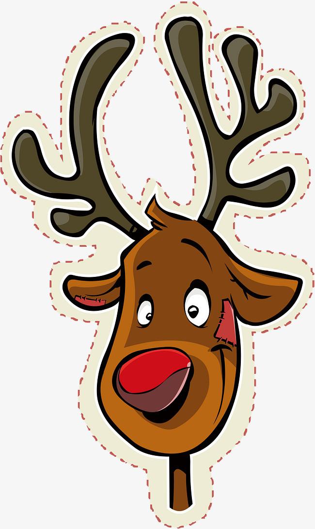 圣诞节卡通麋鹿贴纸图片
