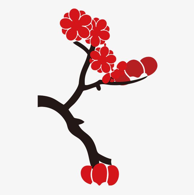 小清新简约装饰树枝花朵_png素材免费下载_ 4214*4214