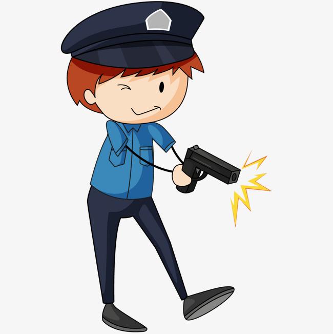卡通版拿枪的警察