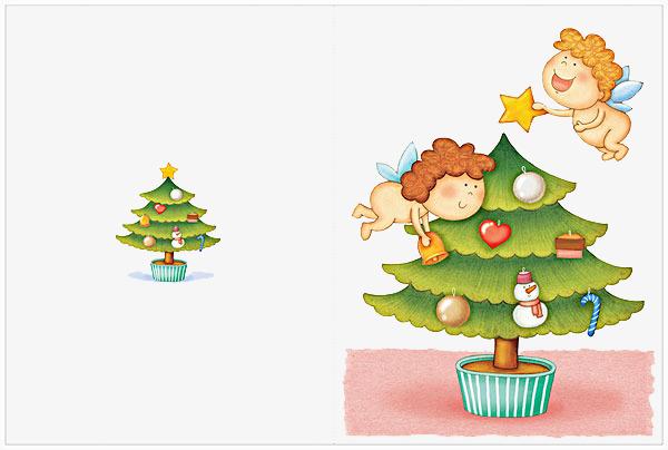 免抠卡通手绘圣诞树天使