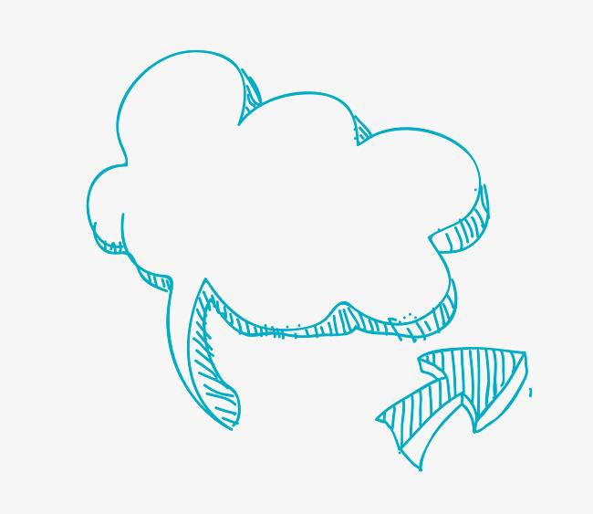 矢量手绘水彩线稿云朵边框