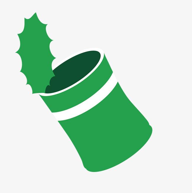 手绘绿色的垃圾桶