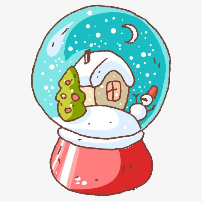 卡通雪景水晶球简图图片