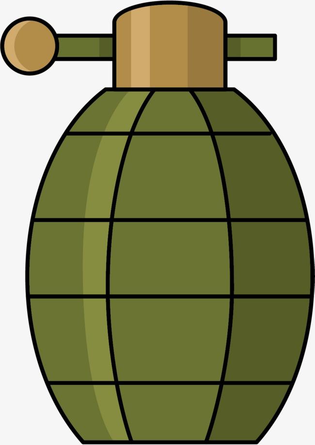 手绘简笔画绿色手榴弹