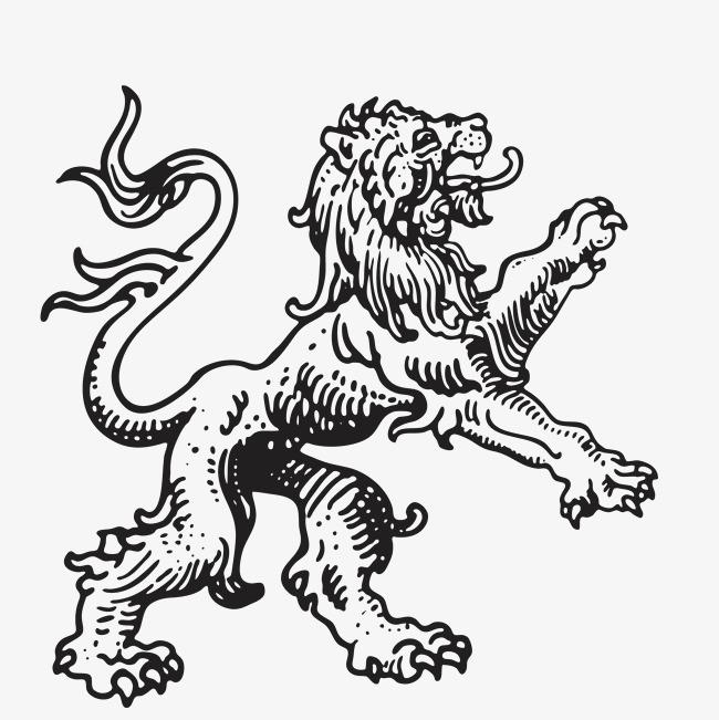 跳跃 动作 手绘 素描 狮子 动物 张牙舞爪 简图免扣素材