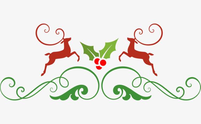 圣诞节麋鹿草藤标志