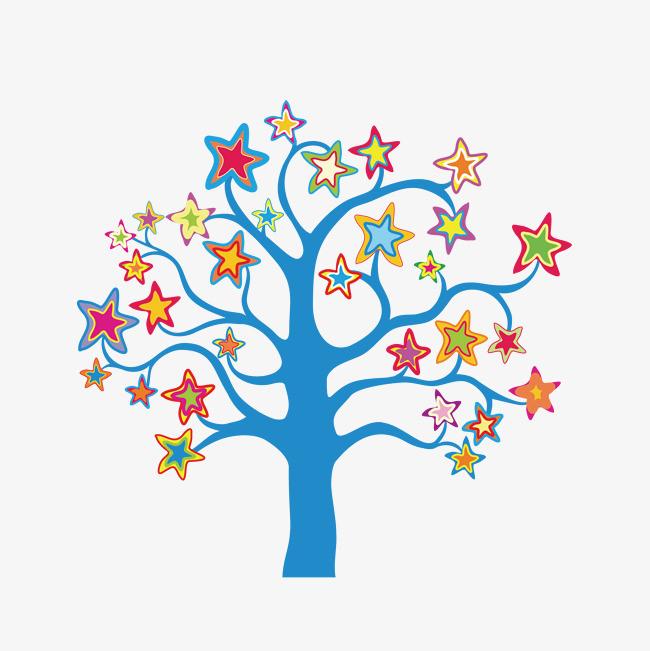 卡通手绘星星大树
