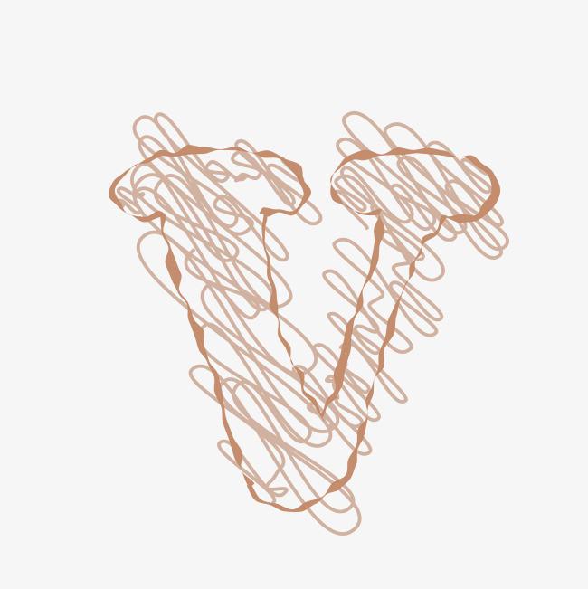 手绘线条英文字母v
