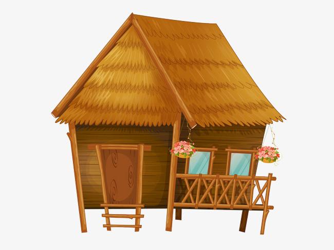 手绘古风棕色房屋_png素材免费下载_ 2159*1619像素