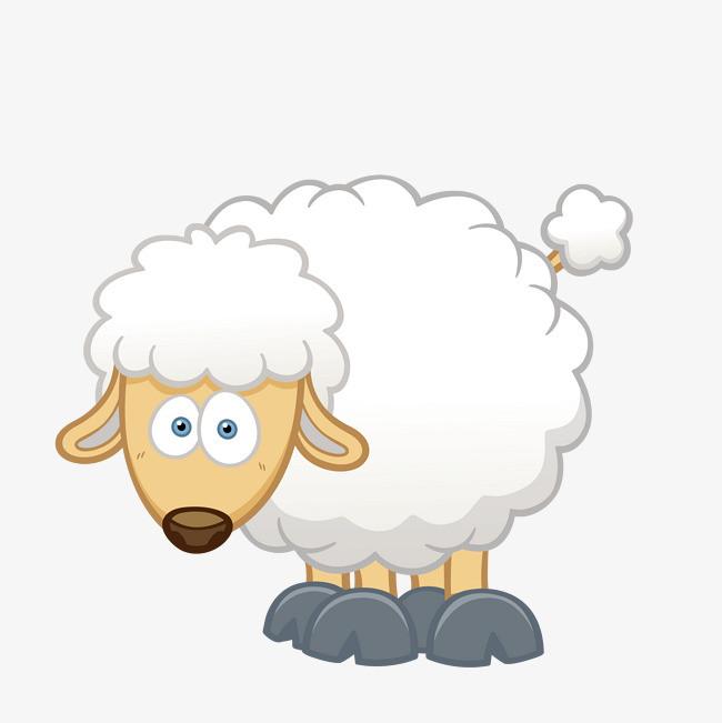 卡通手绘白色棉羊