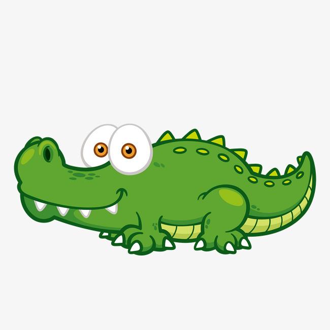 卡通手绘绿色鳄鱼