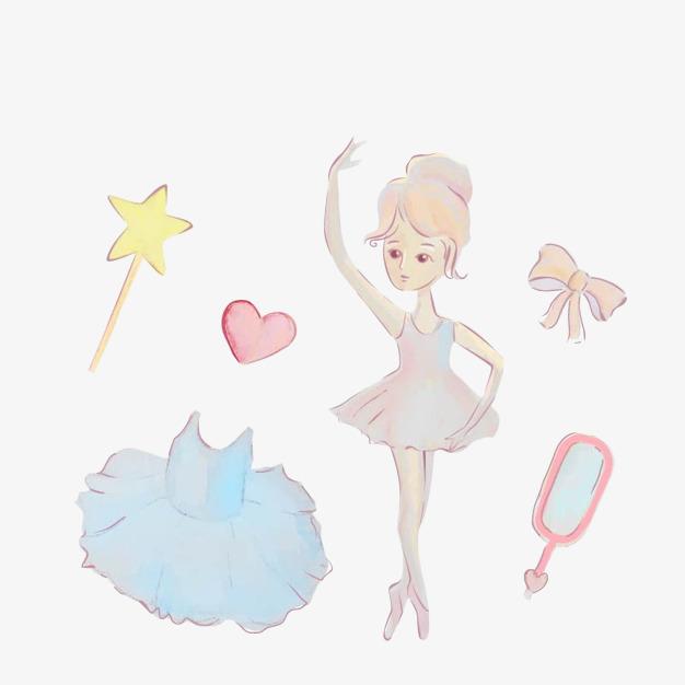 可爱的卡通芭蕾舞女孩和芭蕾舞裙插画免抠