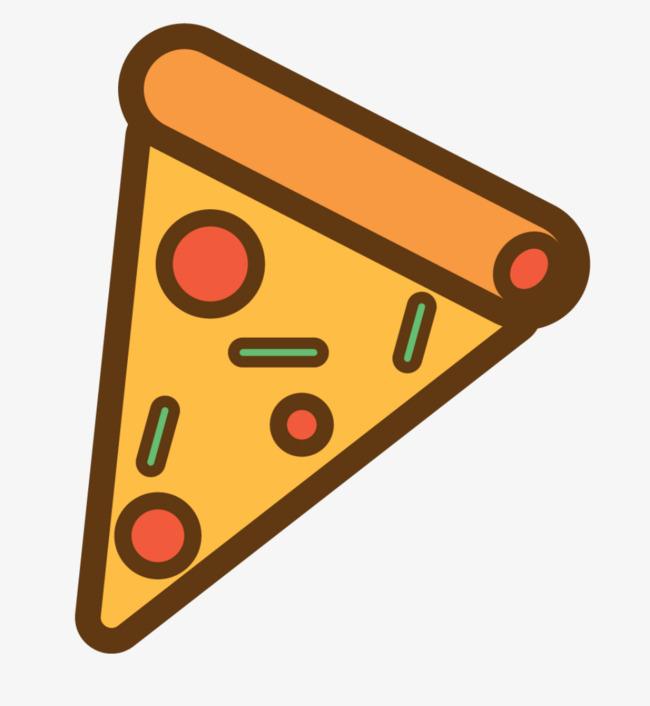 手绘简笔画矢量披萨