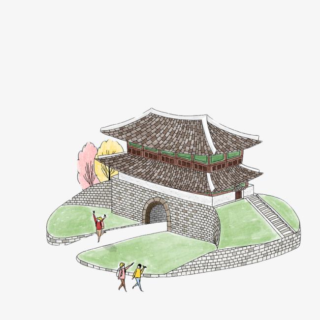 手绘彩色古建筑景点