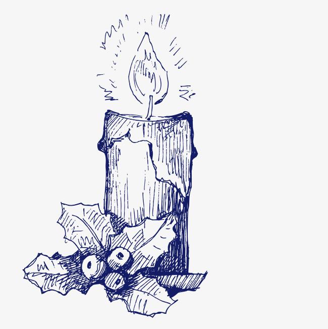 90设计提供高清png手绘动漫素材免费下载,本次素描圣诞节蜡烛简图作品