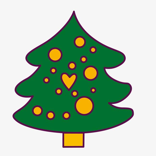 卡通手绘绿色圣诞树图片