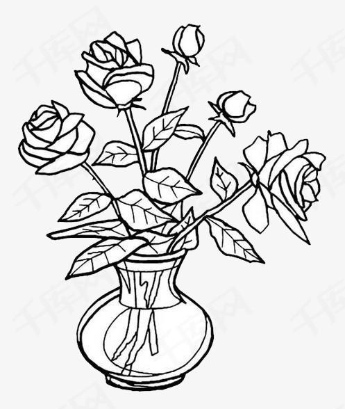 手绘简笔画美丽的玫瑰花素材图片免费下载 高清png 千库网 图片编号9501100