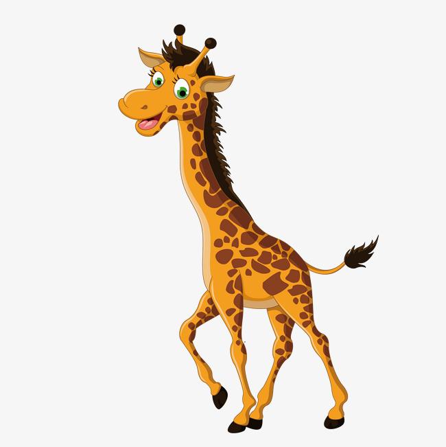 卡通手绘黄色长颈鹿