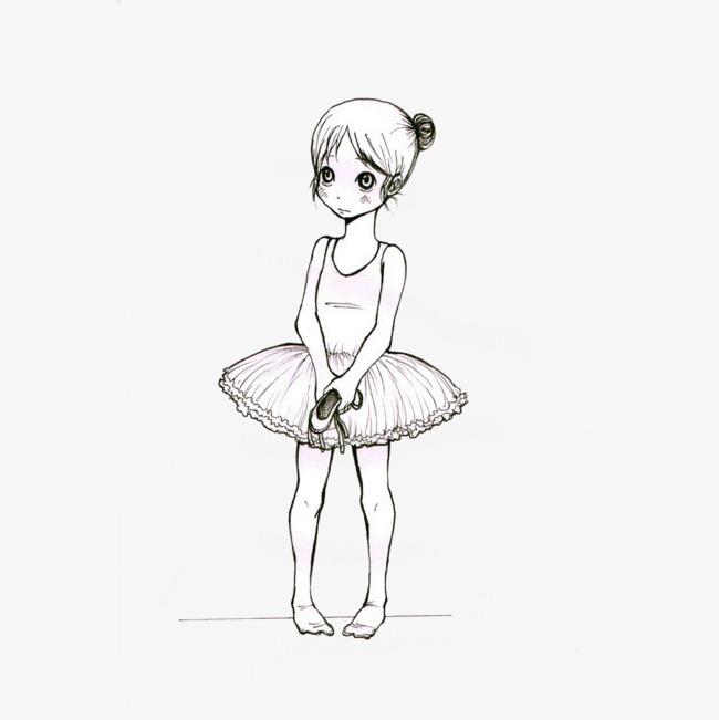 可爱的少儿芭蕾舞女孩插画免抠