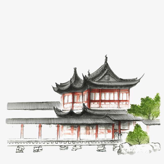手绘淡彩古代建筑