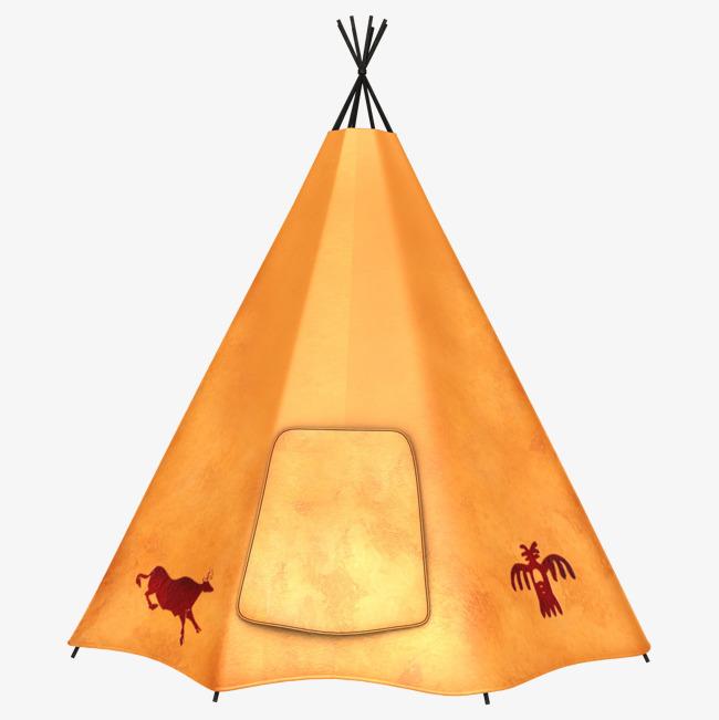 手绘创意棕色三角形帐篷