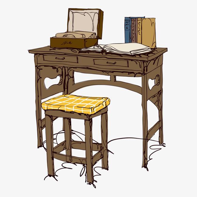 手绘古风桌椅免抠图