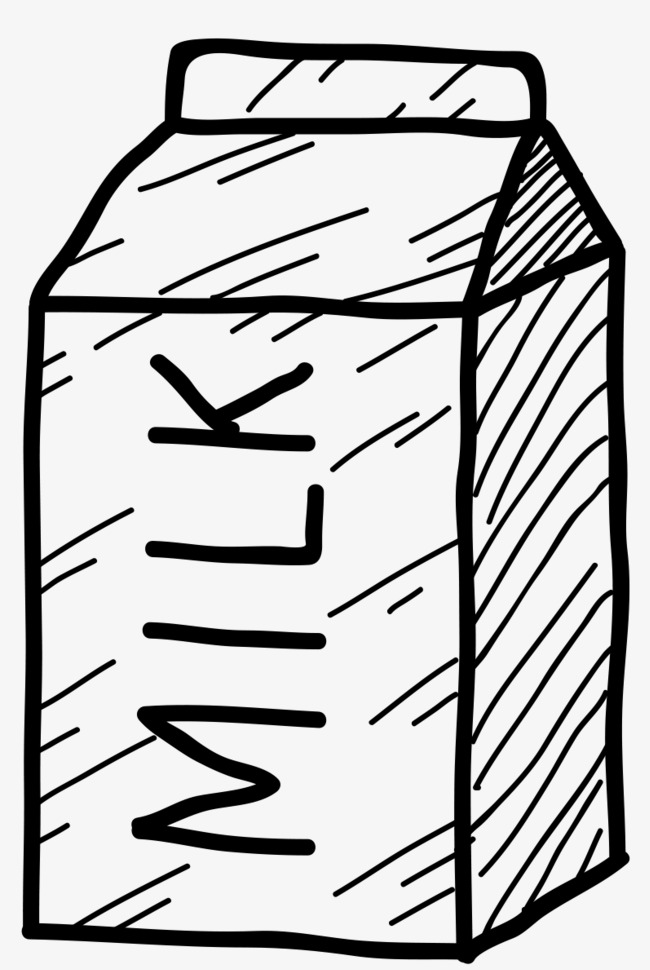手绘可爱卡通轮廓画牛奶罐png素材下载_高清图片png