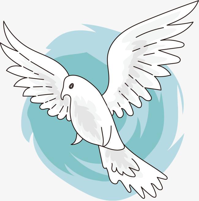 白色卡通手绘和平鸽素材