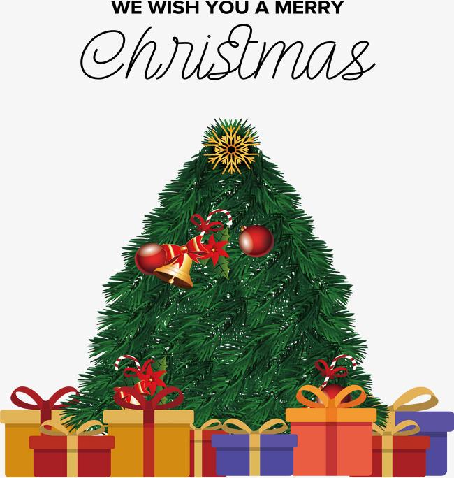 圣诞树下的圣诞礼物堆
