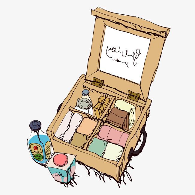 手绘复古行李箱免抠图_png素材免费下载_ 1869*1869