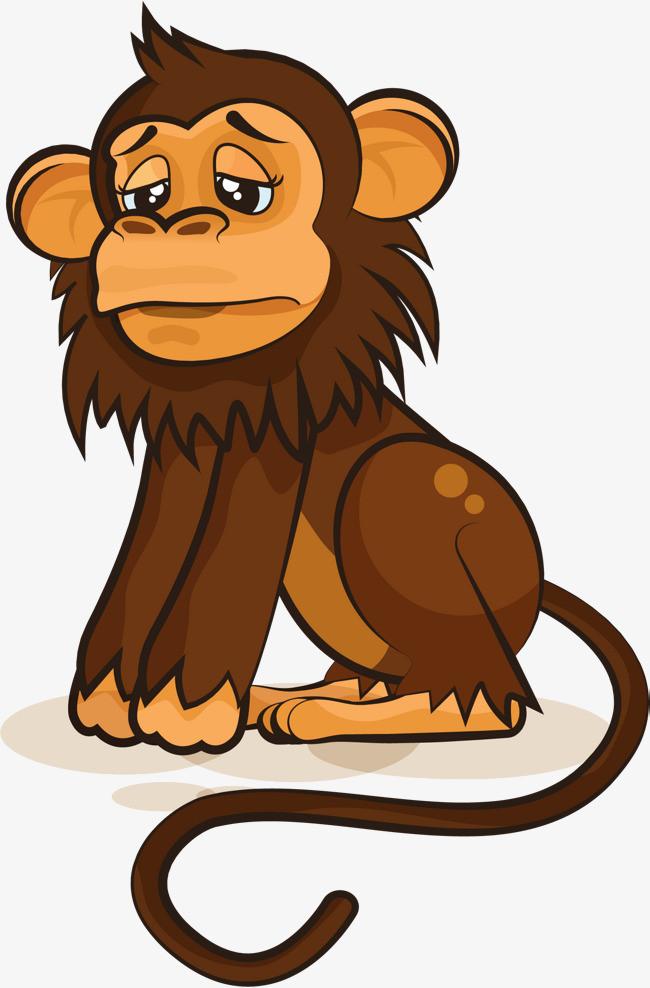 不高兴的卡通猴子