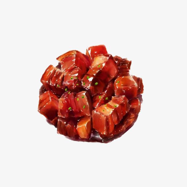 中国风传统美食餐饮手绘红烧肉png