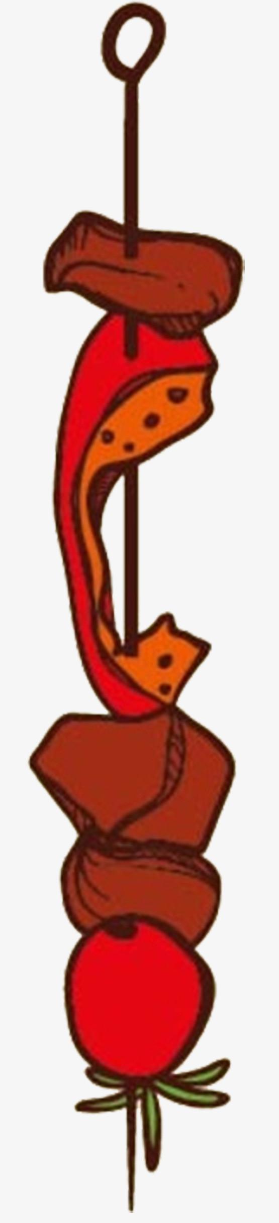 动漫卡通野外烧烤食物串串