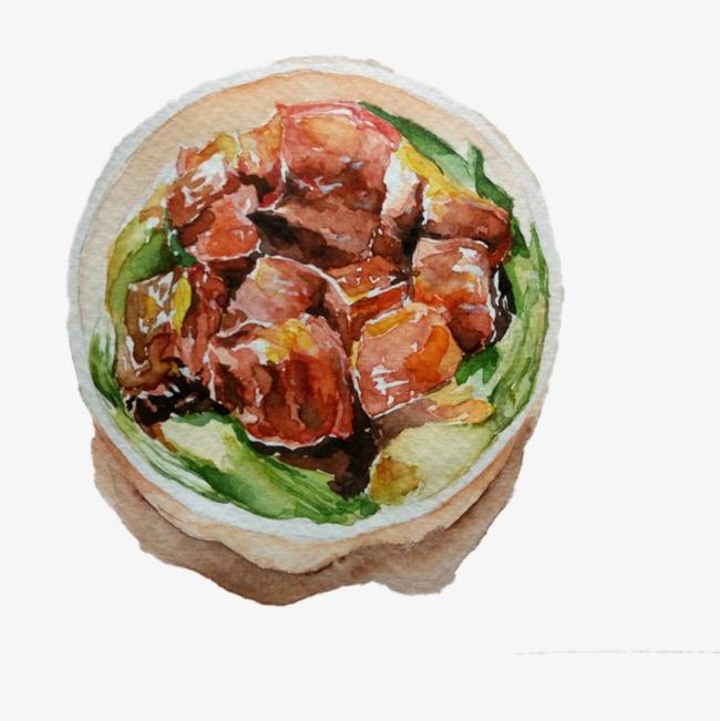 中国风美食餐饮手绘红烧肉免抠png