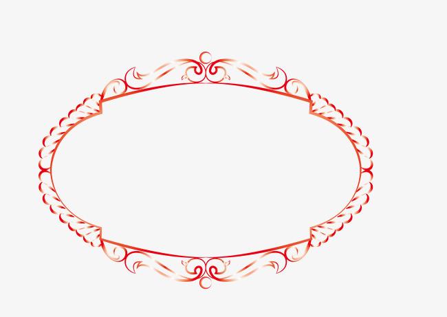 椭圆形花纹欧式边框png