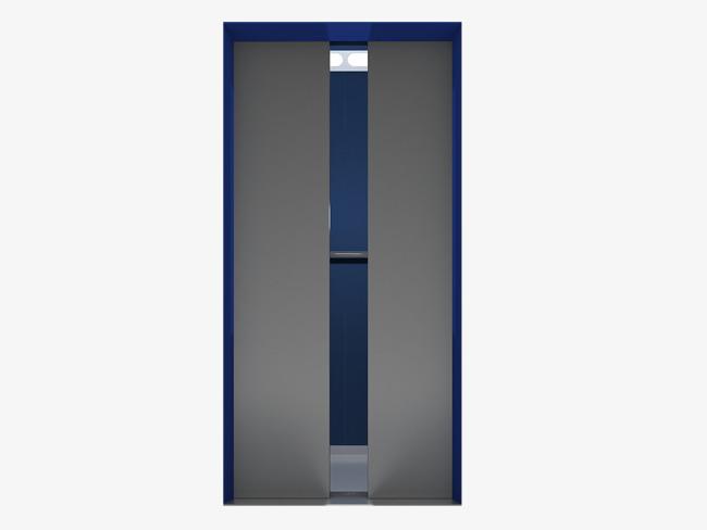 手绘灰色扁平化电梯门