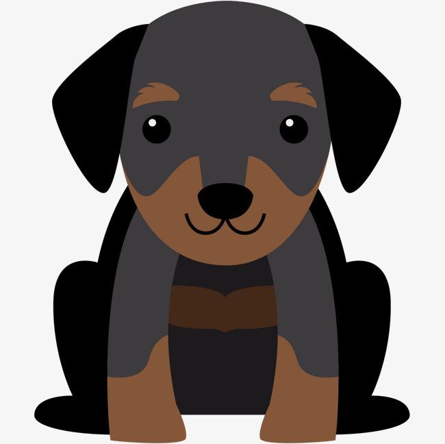 卡通坐着的黑色小狗