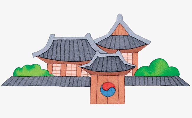 手绘扁平化古风建筑