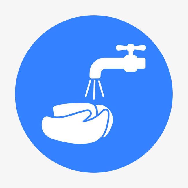 蓝色简约圆形洗手图标
