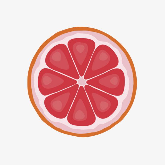 橙红色美味的水果柠檬片卡通png素材下载_高清图片png