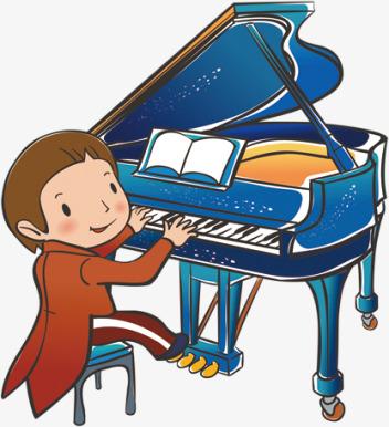 手绘弹钢琴的女孩