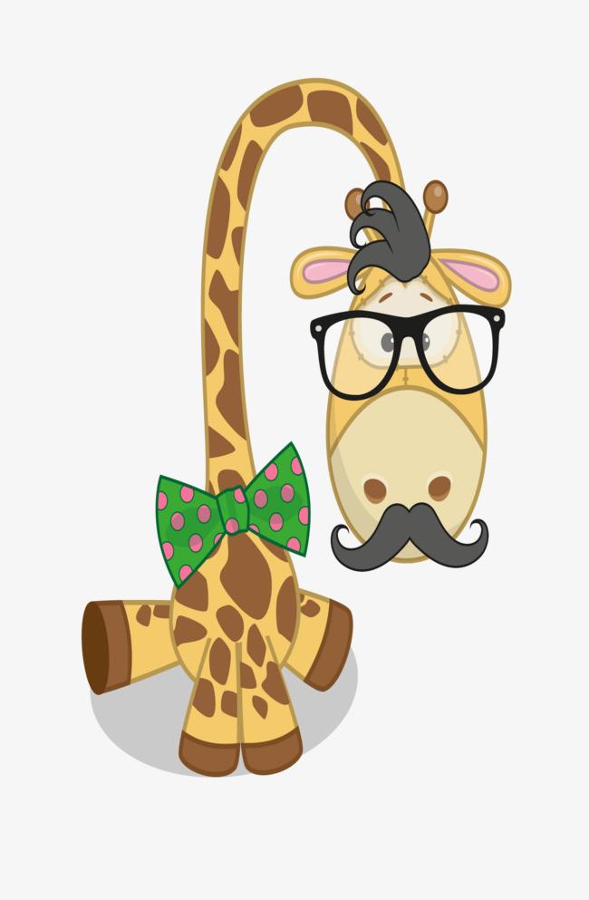 手绘的卡通动物长颈鹿
