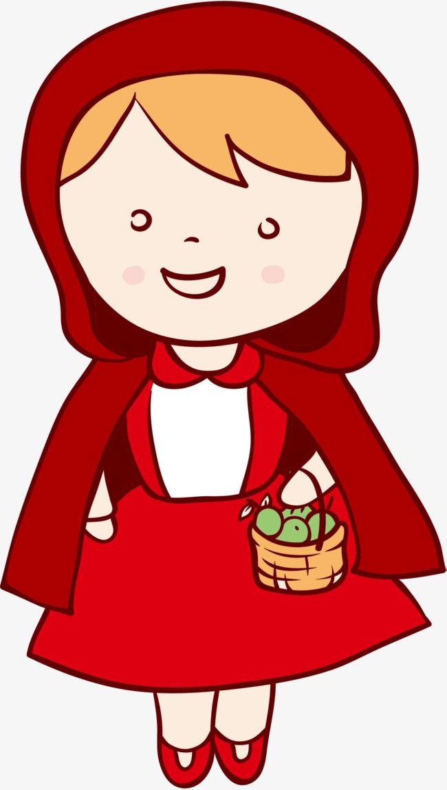 卡通手绘买菜的小姑娘图片