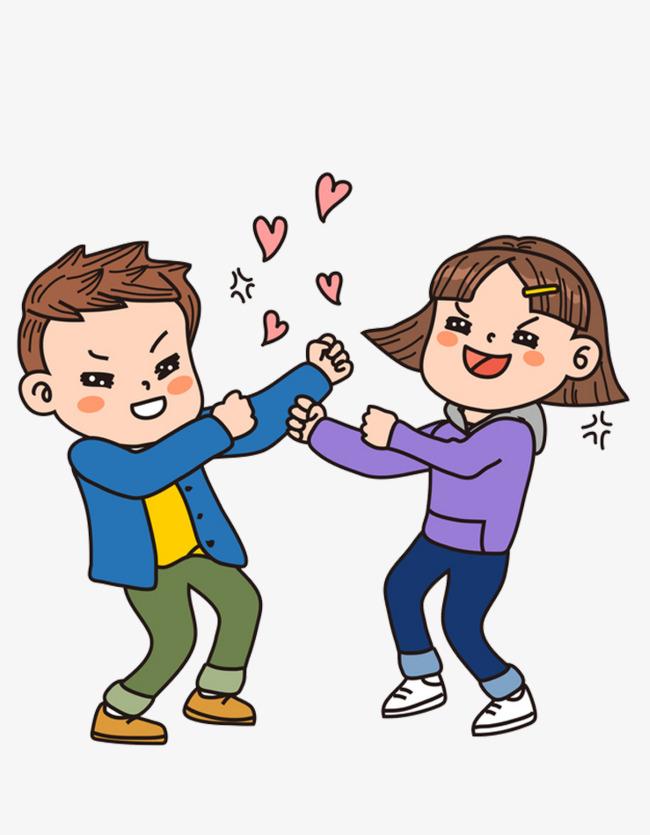 手绘打架的情侣免抠图png素材下载_高清图片png格式图片