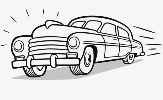 卡通手绘线描汽车