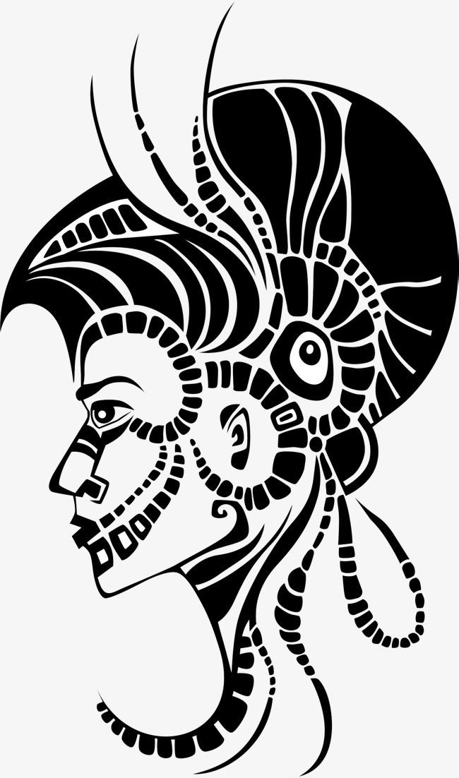 黑色手绘创意人物头像