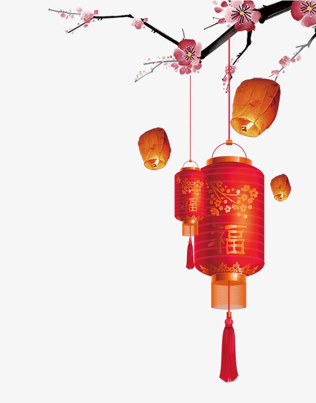 春节红梅灯笼psd分层图