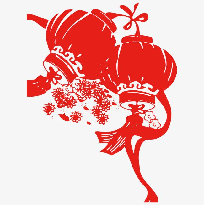 新年红色灯笼剪纸素材图片免费下载_高清png_千库网(图片编号9537801)