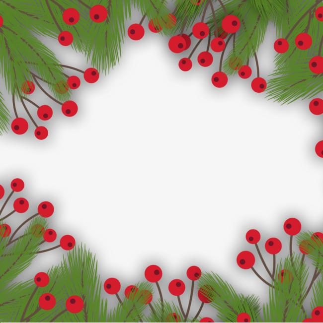 手绘绿植红果边框